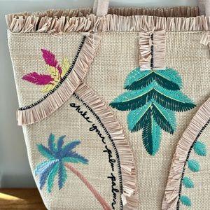 Stella & Dot straw palm palms tote beach bag